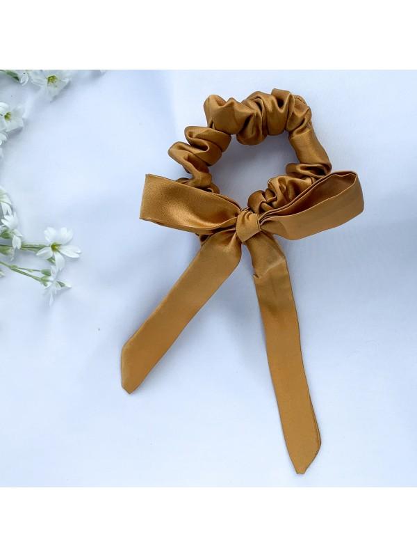 Gumka do włosów jedwabna Mini ze wstążką złota
