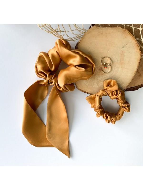 Gumka do włosów jedwabna Mini z kokardką złota
